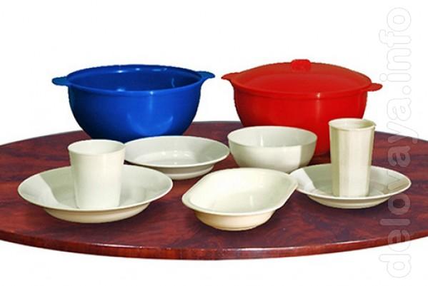 Пластмассовая многоразовая посуда для горячих и холодных блюд : тарел