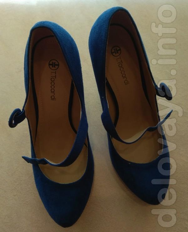Продам недорого новые, синие, замшевые женские туфли. Размер 38,5. Дл
