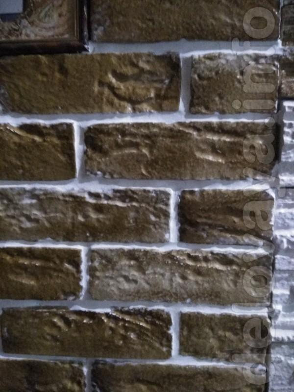 Декоративный  гипсовый  камень  под  кирпич.  Размер 200x63 мм.  S 1ш