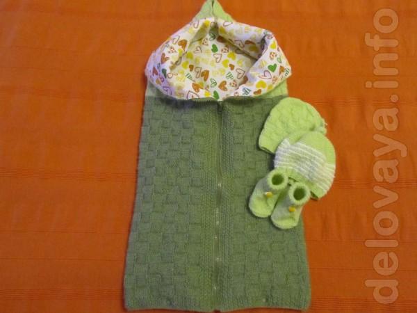 Одеяло -  конверт для новорожденного  , размер 70-70 см.  цена 250 гр