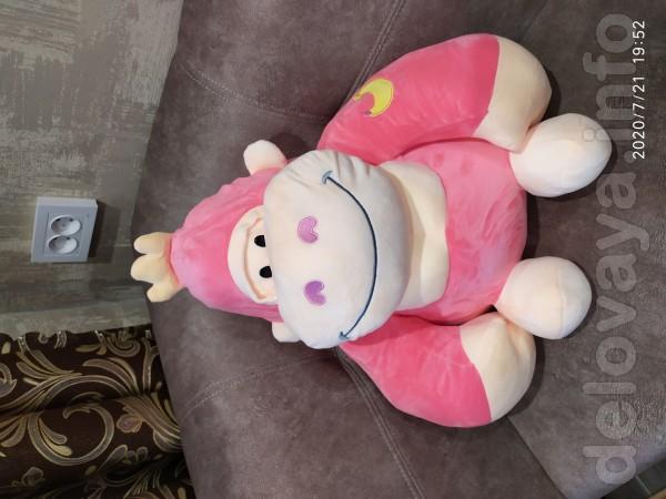 Новая большая мягкая игрушка обезьянка  55см + плед 110*150(внутри иг