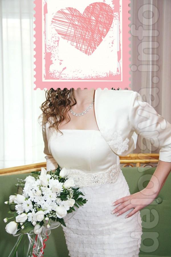 Короткое свадебное платье с атласной накидкой (болеро) + туфли в пода