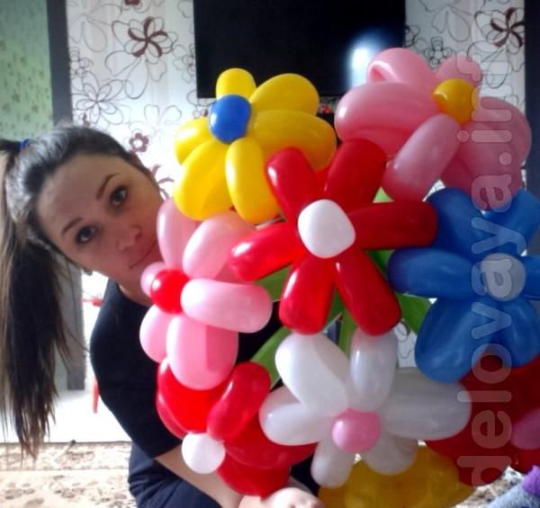 ромашка из воздушных шариков + различные композиции из нее, заказывай
