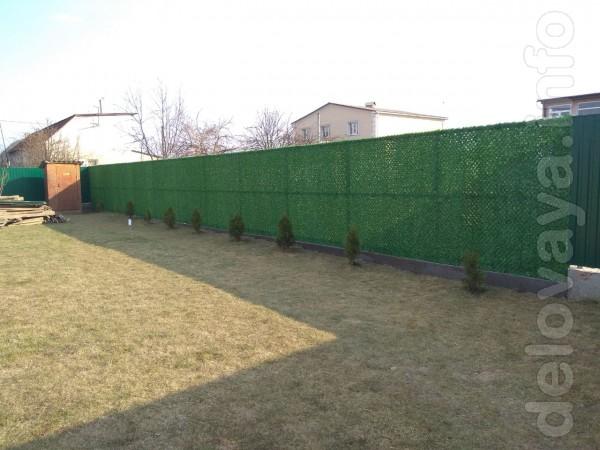 Ограждения декоративные зеленый забор. Выполнен из двойной сетки раби