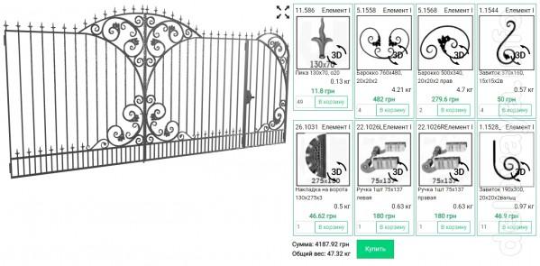 Кованые элементы для ворот. Бесплатный сервис на сайте simplicad для