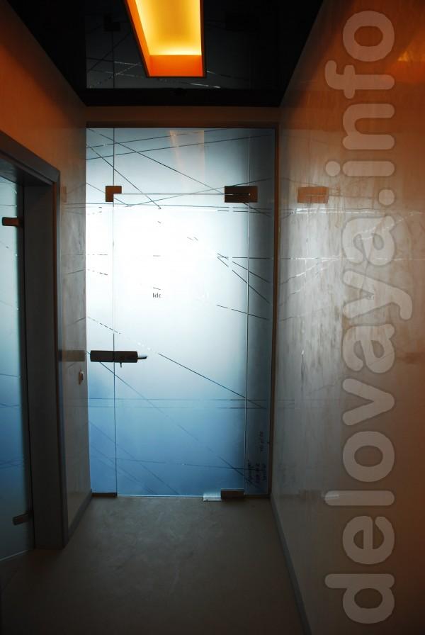 Стеклянные двери, маятниковые стеклянные двери из калёного стекла, ал