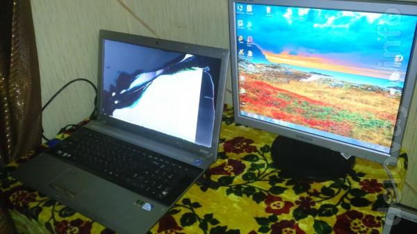 Ноутбук 'Самсунг' 17,3  (битая матрица) + Ж/К монитор 'Самсунг'. С мо