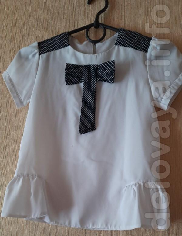 Блузка для девочки 6-7 лет. Длина спереди - 41 см, длина по спине - 4