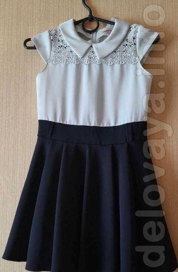 Платье школьное для девочки 6-8 лет. Длина спереди - 64 см, длина по