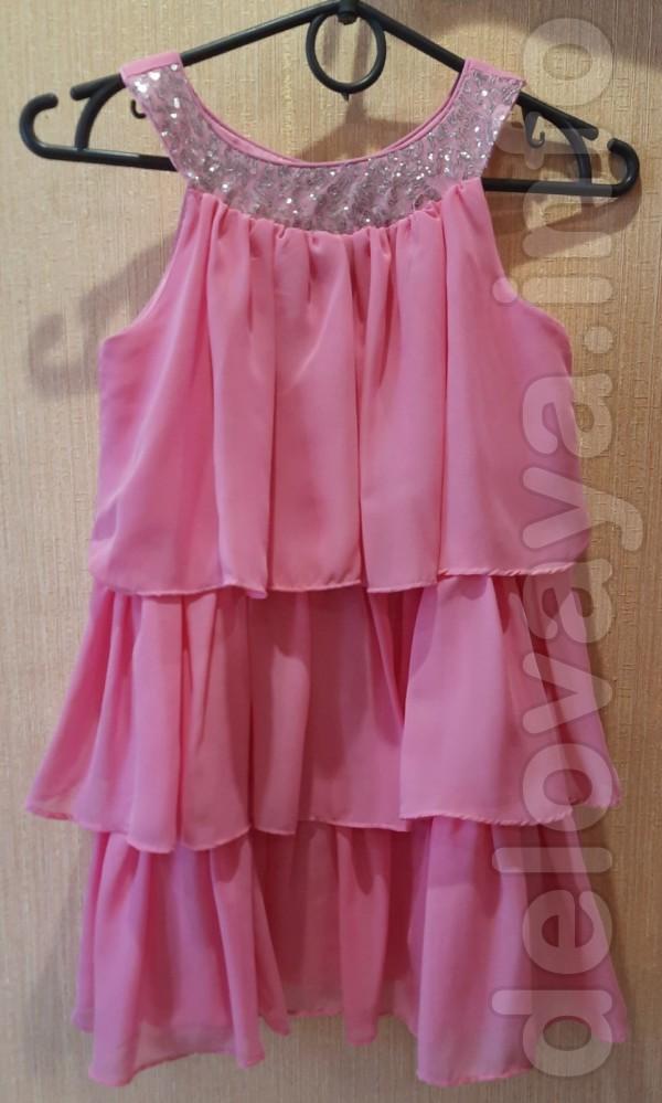 Платье для девочки 7-8 лет. Длина спереди и по спине - 59 см, плечи -