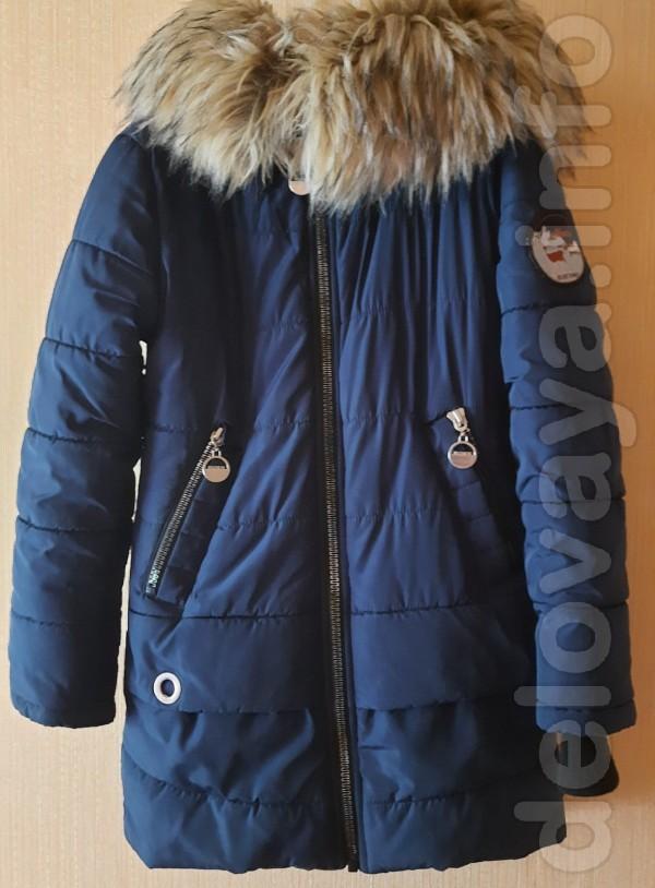 Зимняя куртка для девочки 8-10 лет. Длина спереди - 68 см, длина по с
