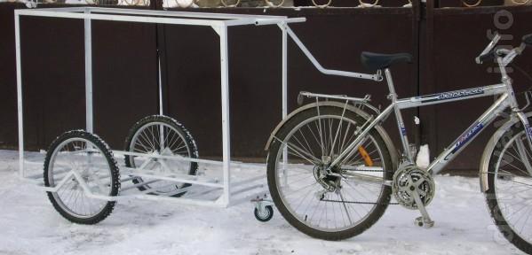Грузовая тележка прицеп для велосипеда мопеда скутера типа ролбар при