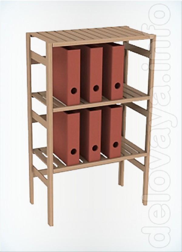Полка 3 уровня выполнена из дерева /сосна/, её размеры: высота - 1110