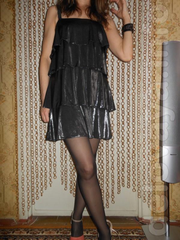 Нарядное платье из диско-ткани стального цвета, размер - 44 - 46, цен
