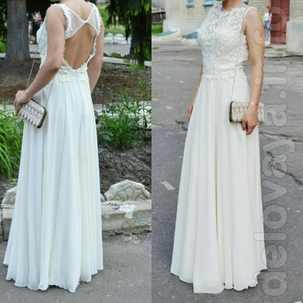 Шикарное Выпускное платье цвета айвори. Спина открыта, кружевное (шиф